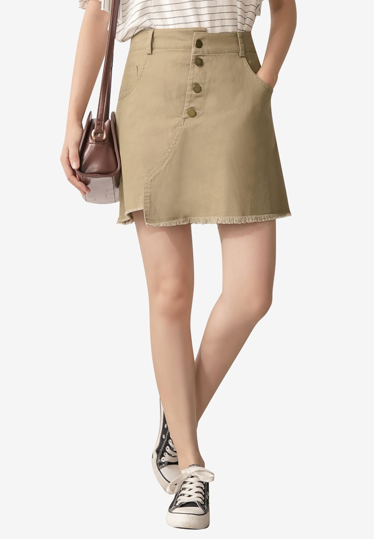 Up Mini Khaki Tokichoi Button Skirt 8Efx85q