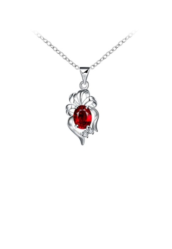 Glamorousky red Elegant Cutout Flower Pendant with Red Cubic Zircon and Necklace CB415ACFEDE2FDGS_1