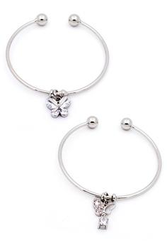 0f4866ec283 Elitrend silver Butterfly Charm Korean Dainty Open Bangle in Silver Bundle  EL890AC10LMNSG 1