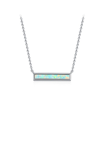 Glamorousky blue 925 Sterling Silver Fashion Simple Geometric Bar Necklace with Blue Cubic Zirconia F0D70AC2D6A45BGS_1