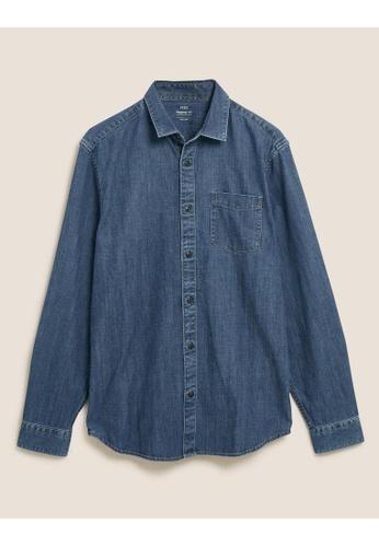 MARKS & SPENCER blue M&S Denim Shirt 4655BAA8E0B8ACGS_1