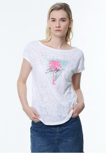 Sisley white Printed T-shirt E0C02AA0E965C6GS_1