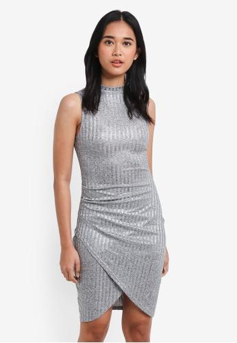 Something Borrowed silver Wrap Rib Bodycon Dress AC1AAAA774212AGS_1