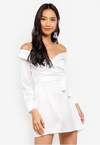 MISSGUIDED white Satin Bardot Tie Dress F0C6EAA634295CGS_1
