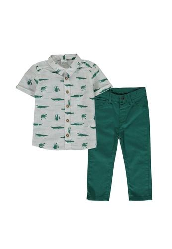 LC Waikiki green Baby Boy Printed Shirt And Trousers Set ED90FKAA56FF21GS_1