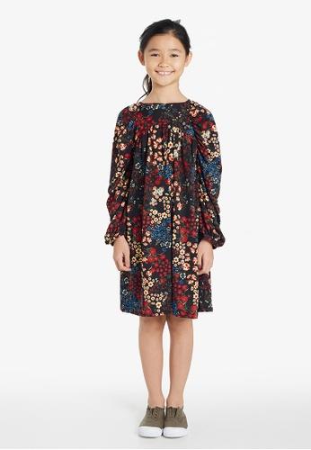 Gen Woo black Bubble Sleeve Floral Smock Dress By Gen Woo 85942KAA77BD96GS_1