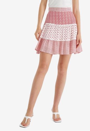 KOTON 紅色 Patterned 短裙 3D71BAAA4ABA4BGS_1