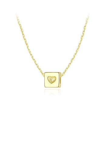 Glamorousky silver 925 Sterling Silver Plated Gold Simple Fashion Geometric Heart-shaped Square Pendant with Necklace 09395AC4EC78F5GS_1