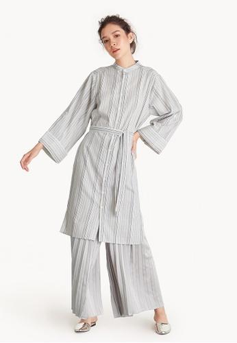 Pomelo brown Oversized Stripe Waist Tie Shirt Dress 0E653AA50A6C6EGS_1