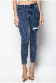 Acid Wash Skinny Jeans with Thigh Distress
