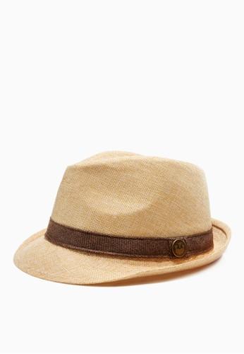 緞帶仿麻紋。紳士草帽-05182-卡其, esprit 品牌飾品配件, 紳士帽