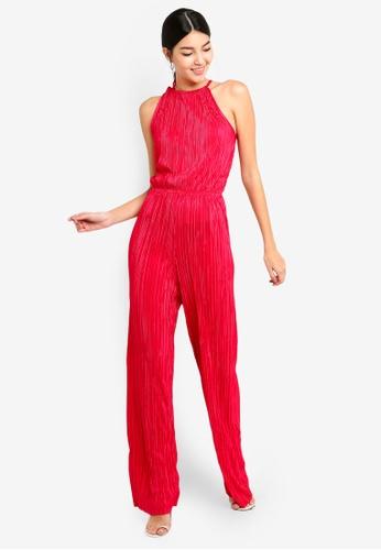 Miss Selfridge 紅色 Plisse Jumpsuit Raspberry 5A1D6AAB8807D6GS_1