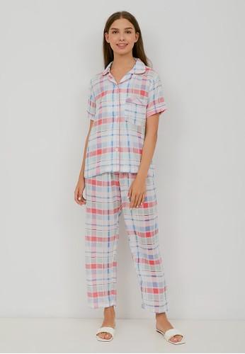 Maddie Lee pink Maddie Lee Baju Tidur Piyama Pendek Wanita Set Motif Apurva Pink 09A93AA8B8A3A5GS_1