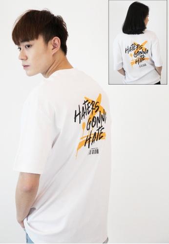 OHNII 白色 黑粉標識印花棉質寬鬆 T 恤衫(橙色) E0FD9AA7B8F1ECGS_1