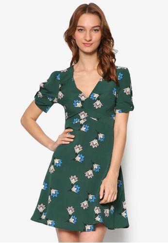蝴蝶結開叉短袖印花連身裙esprit童裝門市, 服飾, 洋裝