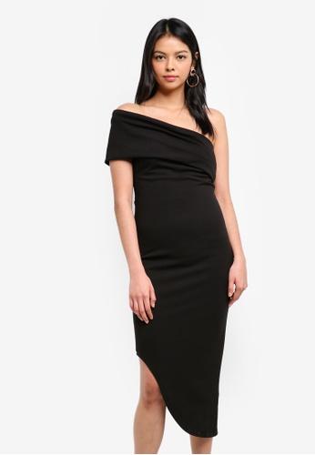 Goddiva black One Shoulder Bodycon Asymmetric Dress AF226AACA3A8A9GS_1
