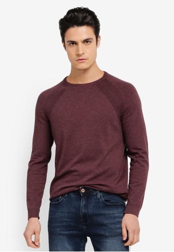 Burton Menswear London 紅色 長袖休閒針織上衣 BU964AA0SWM8MY_1