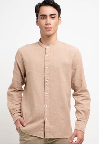 Giordano brown Men's Linen Shirt 2F432AA5DD89CFGS_1