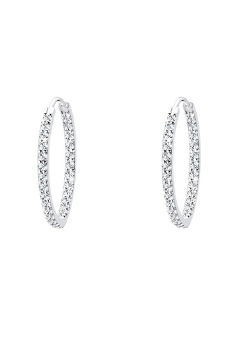 Elli Germany white 925 Sterling Silver Glamor Hoop Swarovski® Crystals Earrings EL474AC69GSOMY_1