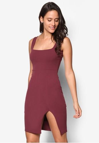 側開叉方領連身裙, esprit outlet尖沙咀服飾, 洋裝