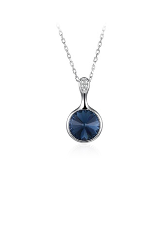 Glamorousky blue 925 Sterling Silver Elegant Geometric Round Pendant with Blue Austrian Element Crystal and Necklace C5054AC585690AGS_1