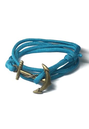Splice Cufflinks blue Ballast Series Turquoise Blue Nylon Matt Gold Anchor Bracelet SP744AC99XDSSG_1