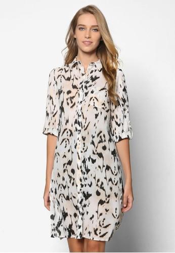 豹紋印zalora taiwan 時尚購物網鞋子花捲袖長版襯衫, 服飾, 上衣