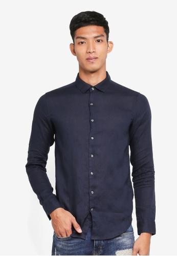 Superdry navy Premium Wash Linen L/S Shirt 2CEFBAA379B7E8GS_1