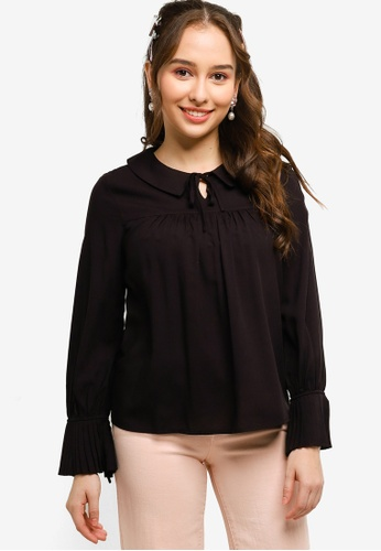 Lubna black Pleated Blouse Made From TENCEL 23BBDAA68713FDGS_1