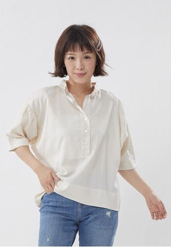 so that's me brown Helen Linen Cotton Wide Shirt Top 8D2CEAA58CB485GS_1