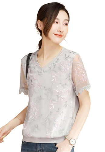 A-IN GIRLS grey Elegant V-Neck Embroidered Blouse 0A28CAABF360B8GS_1