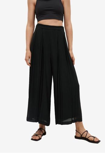 Mango 黑色 Pleats Culotte Trousers 0AF8EAAD8A4B9DGS_1