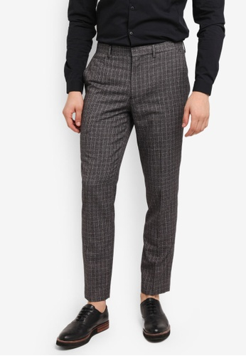 Topman grey Grey Checkered Skinny Fit Smart Trousers 74256AA3505244GS_1