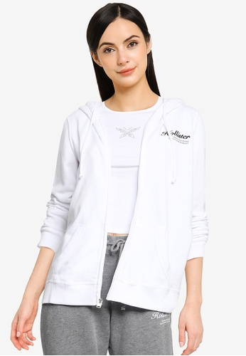 Hollister white Terry Zip Hoodie 1A028AAE690C3AGS_1