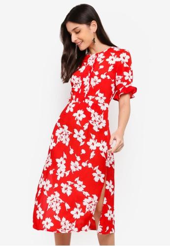ZALORA white and red Pleats Details Dress 45BDBAACEB50ADGS_1