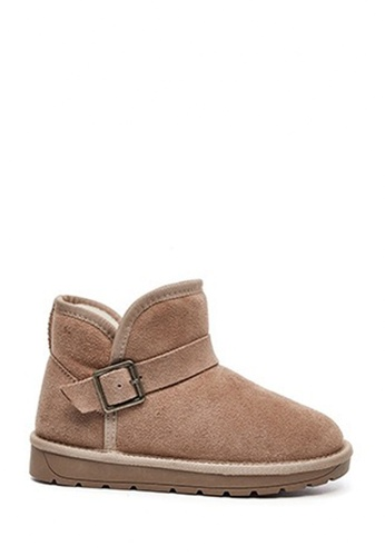 Twenty Eight Shoes 米褐色 超暖柔軟牛反絨有扣冬靴VC5859 67EB4SHC69E48FGS_1
