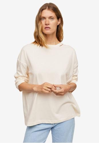 Mango white Long Sleeve Cotton T-Shirt A42F3AA9C9B179GS_1