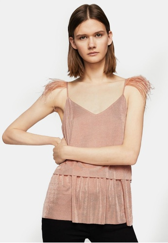 Mango pink Feathers Strap Top MA193AA0S9M0MY_1