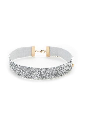 LUCCACAL silver Grey Glitter Choker LU294AC37VTEMY_1
