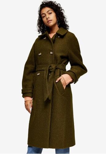 TOPSHOP brown Khaki Boucle Trench Coat Coat 11135AA6B4BBF4GS_1