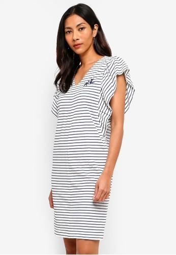 Hopeshow white Wide Sleeve V-Neck Striped Dress C0DA5AAA9DE0F5GS_1