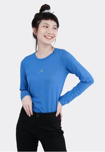 FLIES blue Flies Kaos Sablon Lengan Panjang LIN000004F Biru 4C7D2AAA911941GS_1