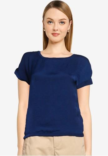 Springfield blue Plain Roll-Up Sleeves T-Shirt C7E2DAA53F94A1GS_1