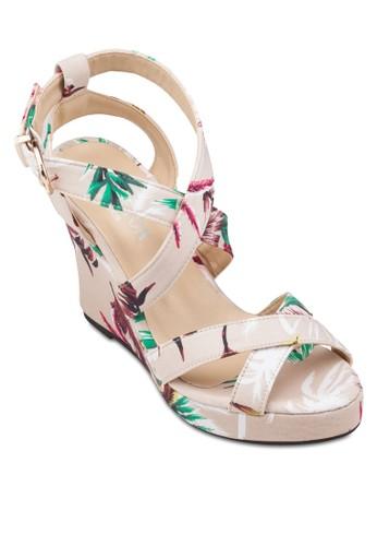 印花交叉繞zalora 包包 ptt踝楔型涼鞋, 女鞋, 鞋