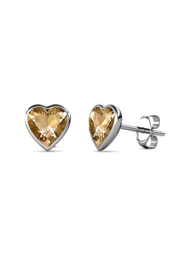 Her Jewellery silver Sweet Stone Earrings (Champagne) -  Made with premium grade crystals from Austria 04791AC559EA1CGS_1