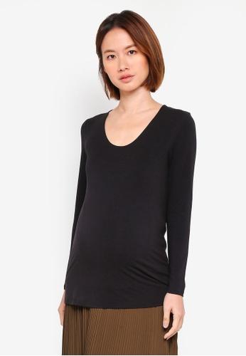 Spring Maternity black Maternity Knitted Vera V Neck Nursing Top A80AFAAD3C1EF6GS_1