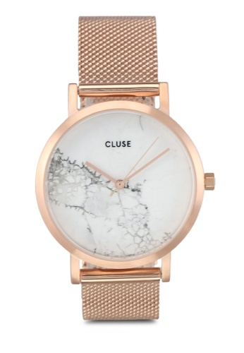 CLUSE gold La Roche Petite Mesh Rose Gold/White Marble Watch CL977AC0SA2AMY_1