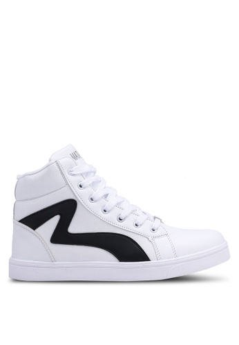 Rocklander white High Top Textured Sneakers CAB79SH97C866FGS_1