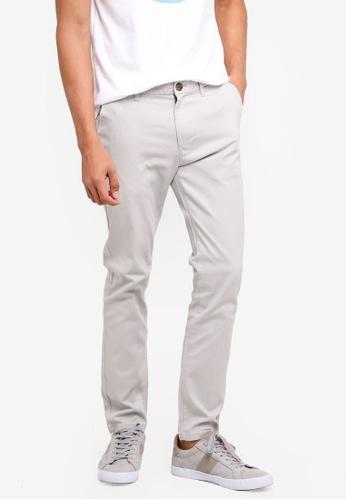 Burton Menswear London grey Light Grey Blake Slim Fit Stretch Chinos D5CD0AA82473A1GS_1