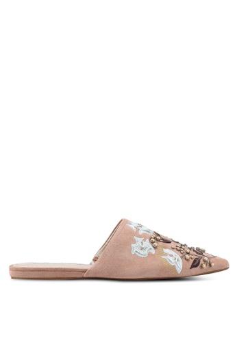 Mango 粉紅色 刺繡穆勒鞋 E9215SH7EF9378GS_1